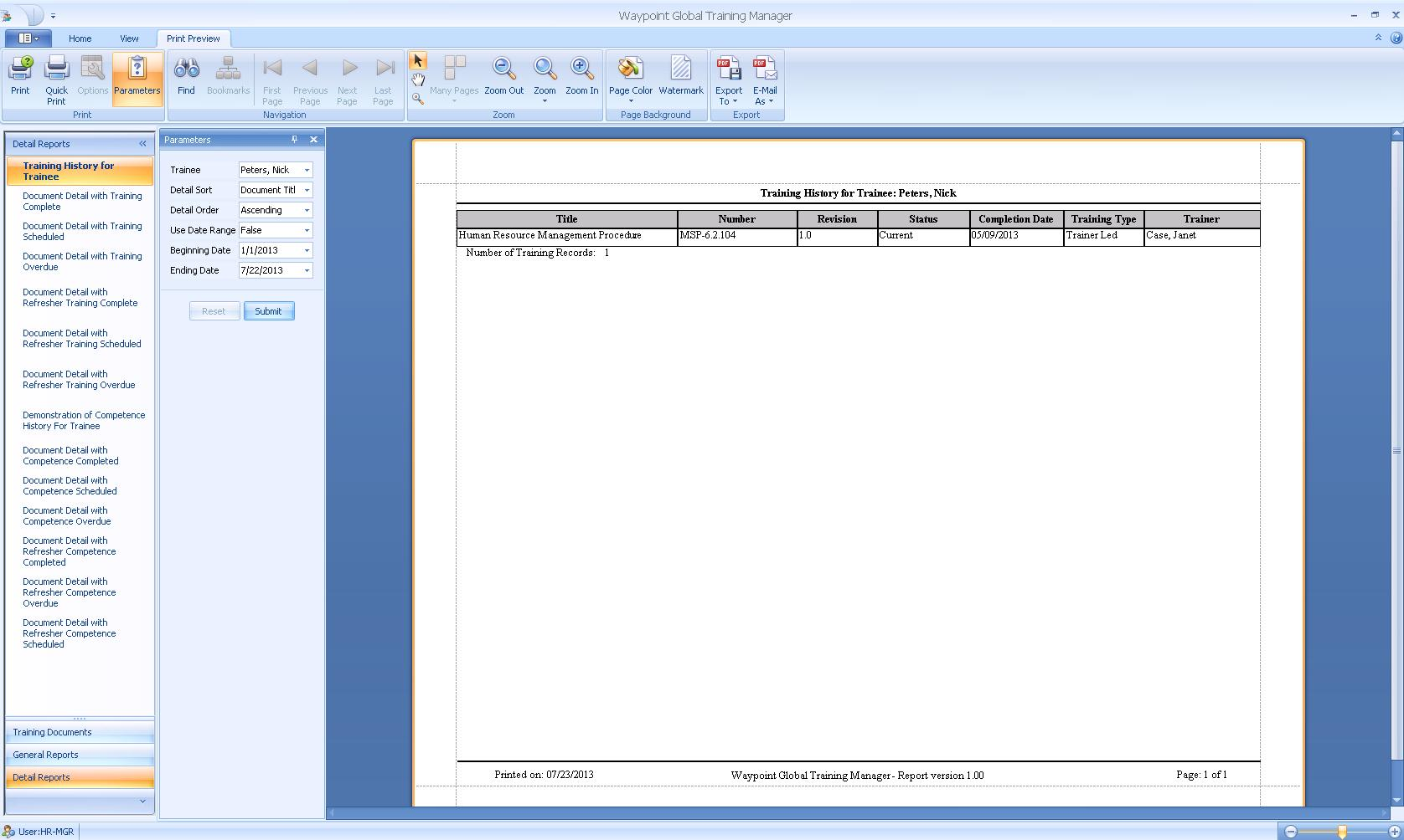 Training Manager Screenshot